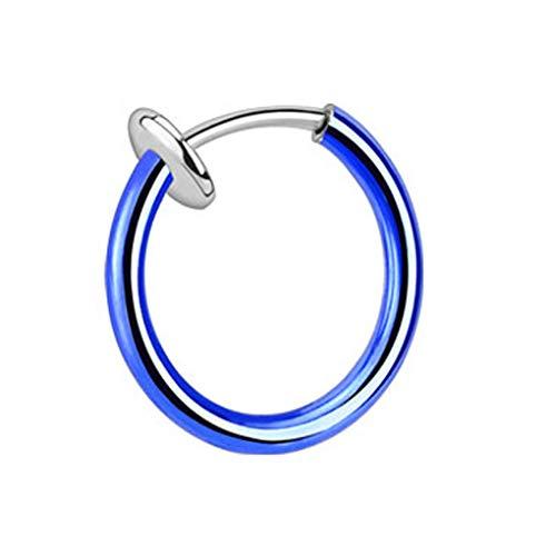 bodypiercing Piercing falso con clip de acero quirúrgico/revestimiento azul, 1,6 x 10 mm