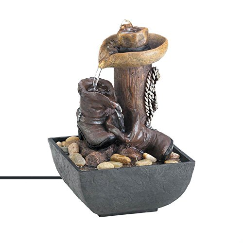 Home Decoration 10017766 Cowboy Hat Boot Tabletop Indoor Water Fountain Western Theme, 5.25' H, Multicolor