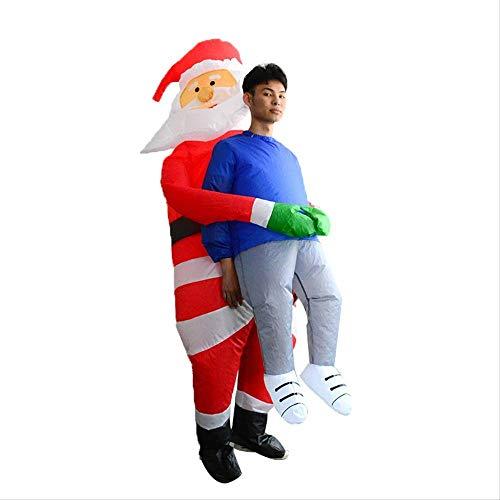 1yess Halloween de Santa Claus Holding un Inflable Traje Caminando sobre Hielo y Nieve, Traje Inflable Divertido, Traje Escenario de Funcionamiento