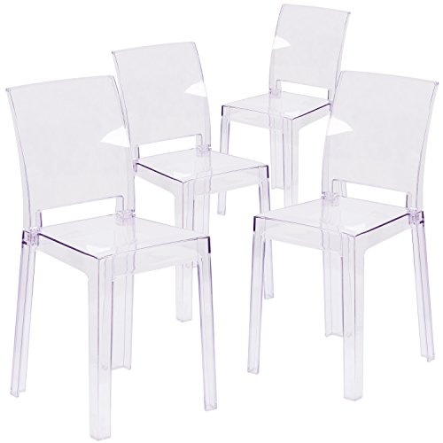 Flash Furniture 4 Pk. Ghost Chair with Square Back in Transparent Crystal