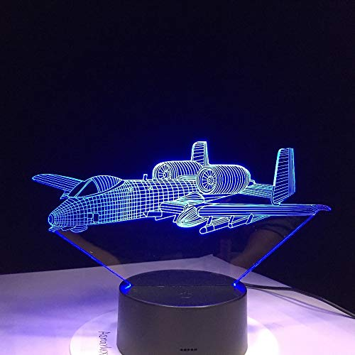 KangYD 3D Night Light Flying Air Plane, LED Optical Illusion Lamp, D - Remote Crack White(16 Color), Kid Lamp, Christmas Gift, Gift for Friend, Colorful Change, USB Powered, Home Decor