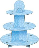 Unique Party 90399 – blå polkaprickig babyshower muffinsställ