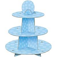 Unique Party- Soporte para cupcakes, para Baby Shower, Color azul, talla única (90399)