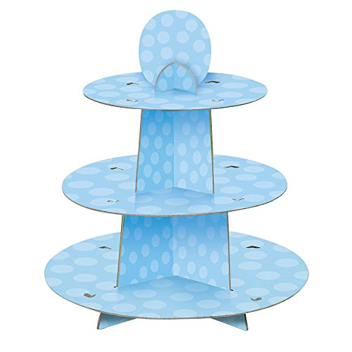 Unique Party 90399 - Soporte para Cupcakes para Baby Shower - Azul a Lunares