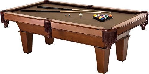Fat Cat Frisco 7.5' Pool Table with Classic Style Billiard Pockets and Contemporary Straight Legs, Oak Finish with Bronze Colored Cloth Playing Surface