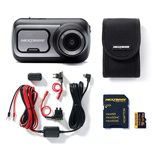 Nextbase 422GW Full 1080p HD In Auto Dash Cam Camera Bundel Kit met Mount, Hardwire Kit, 64 GB SD-kaart en case inbegrepen