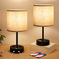2 Pack Opoway Touch Control Dimmable Modern Table Lamp with USB Charging Ports and AC Outlets for Living Room, Office