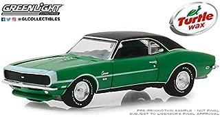 Greenlight 1968 Chevrolet Camaro RS/SS Green with Black Top Lasting Diamond Brilliance Turtle Wax AD Cars 1/64 Diecast Model Car 30018