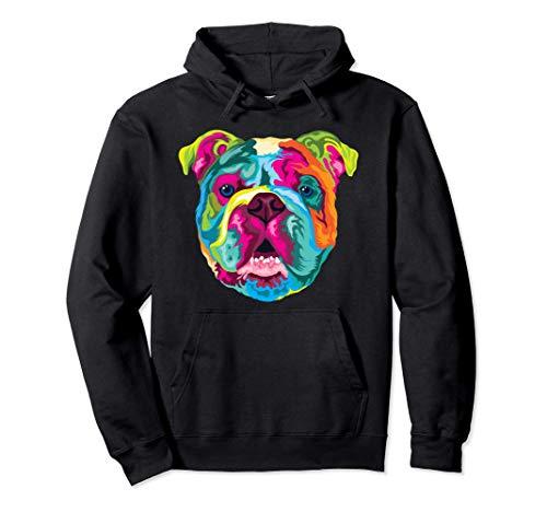 Pop Art Englische Bulldogge Hund Hundeliebhaber Bulldog Pullover Hoodie
