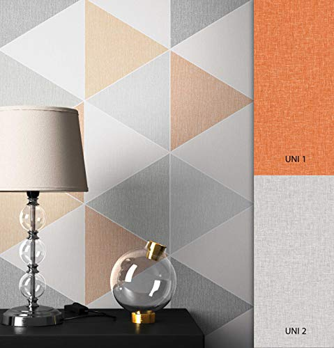 NEWROOM Tapete grafisch orange Dreiecke Retro Papiertapete grau Papier Tapete Geometrisch inkl. Tapezier Ratgeber ǀ Grafik