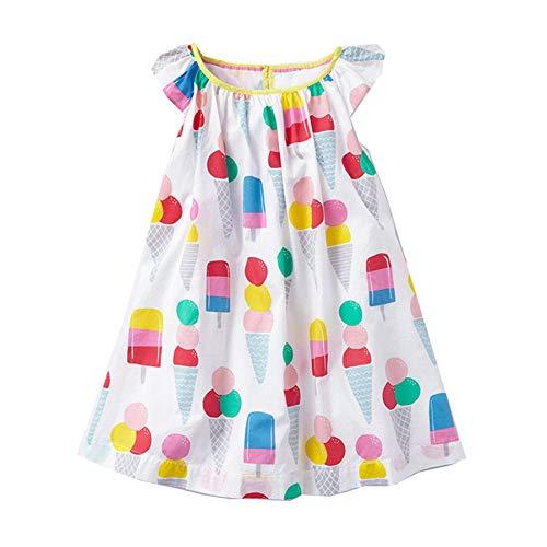 Amphia Mädchen Prinzessin Kleid - Kinder-Baby-Karikatur-Eiscreme Bedruckte beiläufige Kleidung