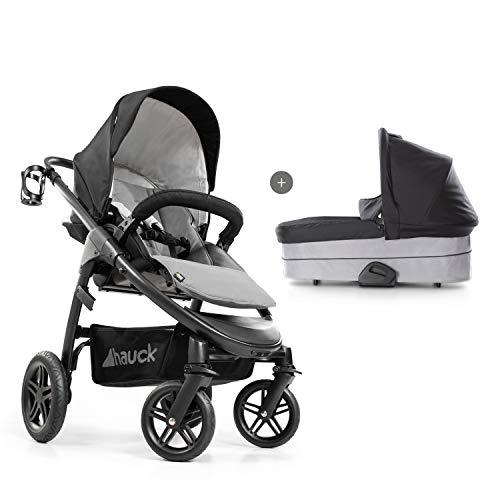 Hauck Saturn R Duoset All-Terrain Sportwagen + Beindecke + Babywanne, drehbar, bis 25 kg, Getränkehalter, höhenverstellbar, kompakt faltbar, kompatibel mit Babyschale, schwarz grau