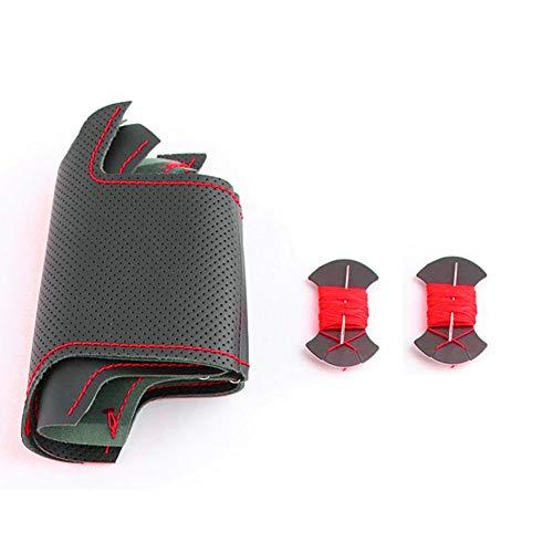 SAXTZDS Accesorios de Coche de Cuero Negro cosidos a Mano DIY, Cubierta del Volante, para Subaru WRX