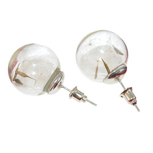 LUFA Pendientes de diseño de bola de cristal con la planta del diente de león