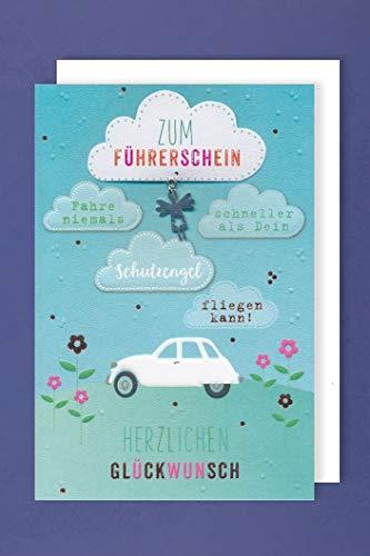 Führerschein Karte Grußkarte Applikation Prüfung Bestanden Wolken 16x11cm