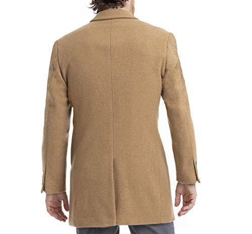 Calvin Klein Men's Slim Fit Wool Blend Overcoat Jacket, Camel, 40S