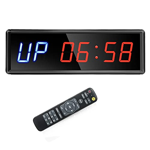 Seesii LED Interval-Timer, Gym-Timer Count Down/Up Clock Stopwatch with Remote for Home Gym Fitness Workout Garage (11x3.6inch)