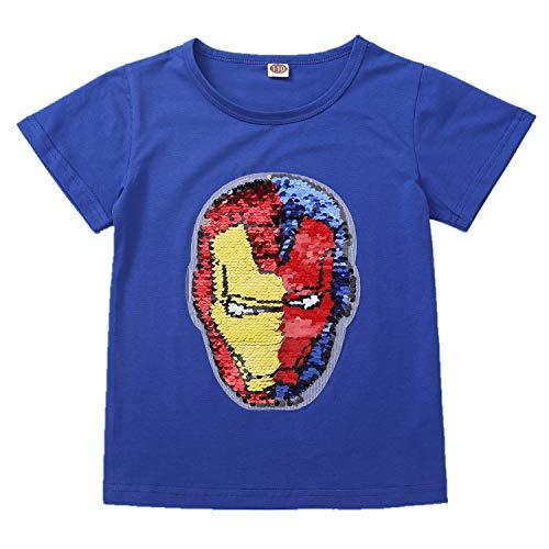 Lee Little Angel Iron Man Magic Sparkle Camiseta Deportiva Jersey de algodón para niños y niñas (3-14 años de Edad) (110 (3-4 años), GANG020)