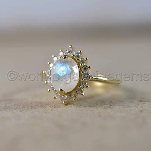 Genuine Rainbow Moonstone Unique Design Anniversary Gift For Sister Pure 925 Sterling Silver Ring High Quality Silver Women/'s Crown Ring