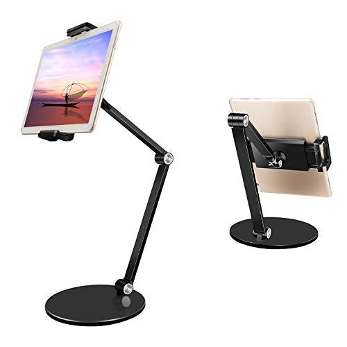 "Adjustable Tablet Stand Holder,efiealls Aluminum Alloy Long Arm Tablet Holder Stand,Foldable Desktop Phone Holder with 360° Swivel Phone Clamp Mount Holder for 4-13"" iPad/Tablet/Phone/Kindle/Switch"