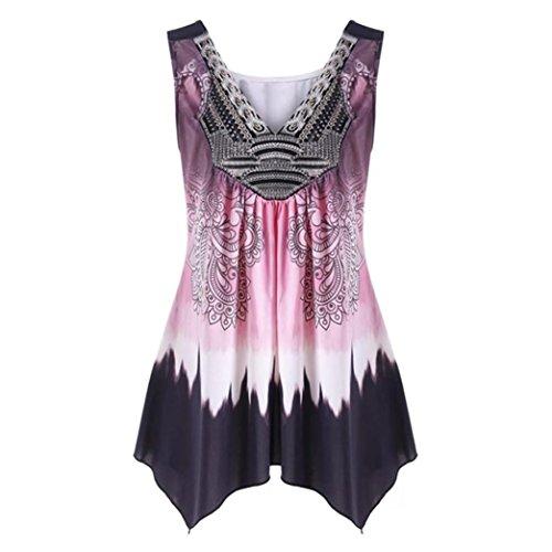 TITIU Damen Frauen V-Ausschnitt Sommer Tank Top Sleeveless beiläufige lose gedruckte Weste Plus Größe Oberteil T-Shirt Tees Bluse Tops (3XL, Pink)