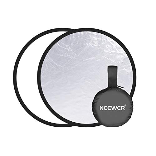 Neewer Photography Reflector  2in1 Silver/White Background 118 inches/30 Centimeters Collapsible Reflector Light Reflector for Photo Studio Photography LightingampOutdoor Lighting