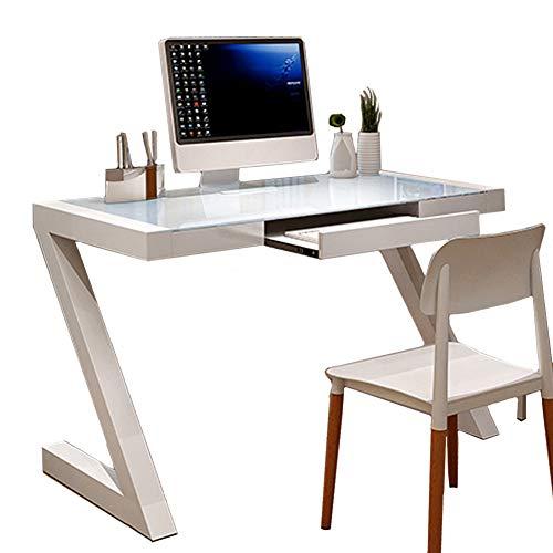 CDTO Moderne Computer Tische Tempered Glass, Bürotisch Z-förmig Arbeitstisch Stahlrahmen Studie Home Office Pc Laptop-weiß 100cm Mit Tastaturablage