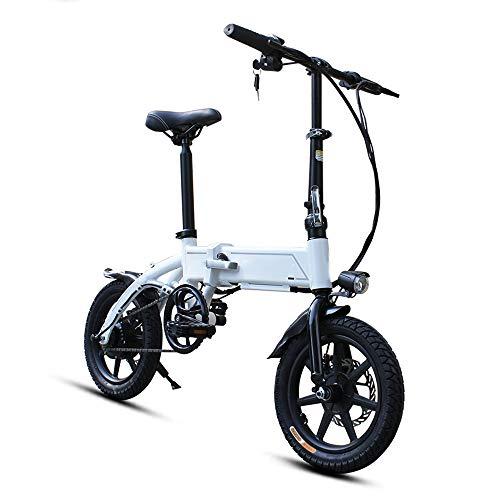Dsqcai Batería de Litio Plegable de Bicicleta eléctrica EBS Ciclomotor liviano, Equipado con batería de Iones de Litio Oculta extraíble 18650, 14 Pulgadas, Vida eléctrica Pura de 35 km,Blanco