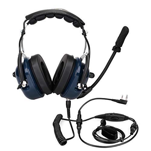 Retevis EH050K Auricular de Diadema de Aviación Anti-Ruido VOX Mic Over-Ear Headphones Cascos Compatible con Walkie Talkie Retevis RT24 RT27 RT22 Baofeng BF-888S Kenwood TYT (1 Pieza)
