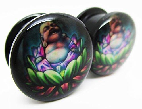 Pierced Republic Water Lily Buddha Ear Plugs - Acrylic Screw-On - 8 Sizes - Brand NewPair (0 Gauge (8mm))