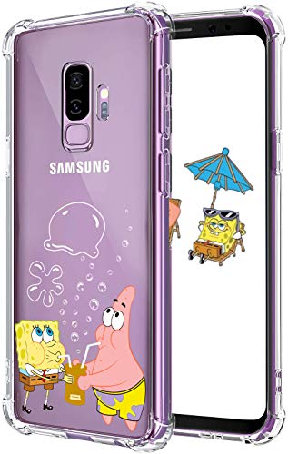 Lupct for Samsung S9 Plus Case, Soft TPU Character Cartoon Cute Mobile Phone Spongebob&Patrick Fashion Design Girls Boys Cover Skin Slim Fit Funny Fun Ultra-Thin Shell for Samsung Galaxy S9 Plus S9+