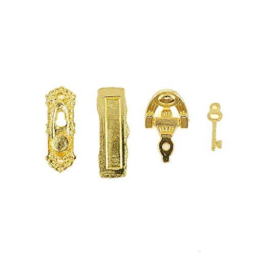 GRASARY Juego de 4 cerraduras para puerta de casa de muñecas, de metal, 1:12, cerradura en miniatura, aldaba para llaves, perfecto para casa de muñecas, juguete de regalo
