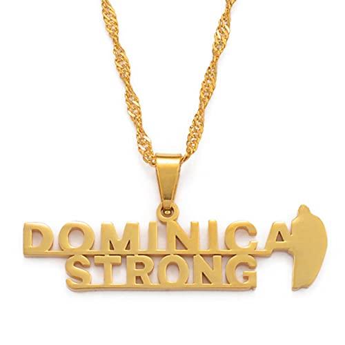 QDGERWGY Collares Pendientes Joyas de Acero Inoxidable y Color Dorado Mapa del país de Dominica