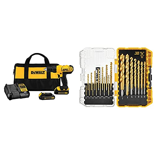DEWALT 20V Max Cordless Drill / Driver Kit, Compact, 1/2-Inch with...