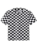 T-Shirt Damen Sommer, Teenager Mädchen Mode Plaid Crop Top Bauchfrei Shirt Bluse Karierte Party Oberteil Sport Kurzes Tank Top Hemd Frauen Sommer Kurzarm T Shirt Tops Pullover Sale (M, A-Schwarz)