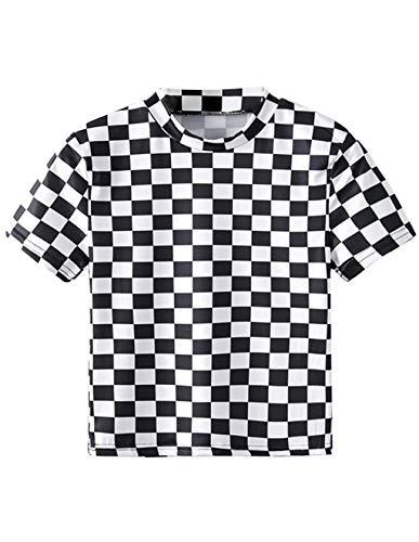 T-Shirt Damen Sommer, Teenager Mädchen Mode Plaid Crop Top Bauchfrei Shirt Bluse Karierte Party Oberteil Sport Kurzes Tank Top Hemd Frauen Sommer Kurzarm T Shirt Tops Pullover Sale (L, A-Schwarz)