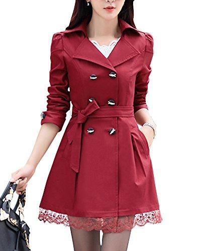 DianShao Donna Doppiopetto Bowknot Lungo Trench Coat con La Cintura And Pizzo Hem Bodeaux XL
