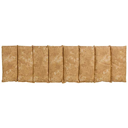 Saco térmico con semillas de colza compartimentado en 8, 75x20cm - batik oro - Almohada térmica para microondas - Calor y frío - Cojín térmico con semillas