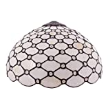 Tiffany Lamp Shade Replacement W16H7 Inch Stained Glass Crystal Pear Bead Lampshade Fit For Table Lamps FLoor Lamp Ceiling Fixture (3 Hooks)Pendant Hanging Light S558 WERFACTORY Home Office Decoration