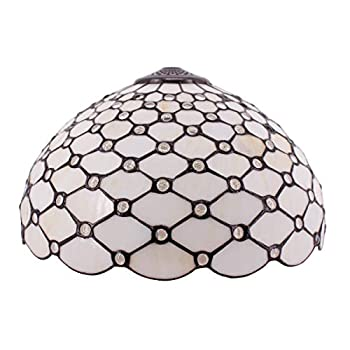 Tiffany Lamp Shade Replacement W16H7 Inch Stained Glass Crystal Pear Bead Lampshade Fit For Table Lamps FLoor Lamp Ceiling Fixture  3 Hooks Pendant Hanging Light S558 WERFACTORY Home Office Decoration
