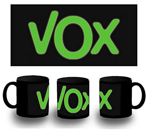 MERCHANDMANIA Taza Completamente Negra Logo Partido VOX Black mug