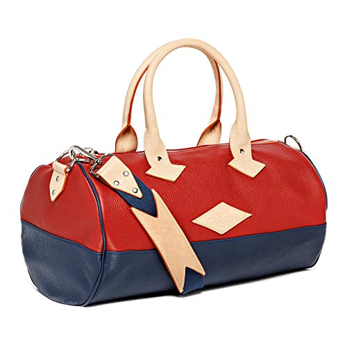 Bob Carlton Hand Luggage Approved as Cabin Suitcase – Bag for Airplane Made in France French Cote d'Azur 40x26x26 cm – 21 L – L'Elégance Casual Red Cuir Grainé Rouge et Bleu Marine 21L