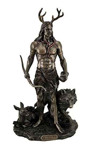 Resin Statues Herne The Spirit Hunter Of Windsor Forest Standing With Deer And Wolf 6 X 11.5 X 6 Inches Bronze