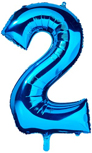 amscan NEU Folienballon Große Zahl 2 blau, 53x88 cm