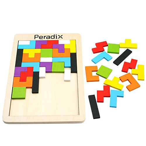 Peradix Colorful Wooden Tangram Jigsaw Puzzles Building Blocks Intellectual Educational Toy