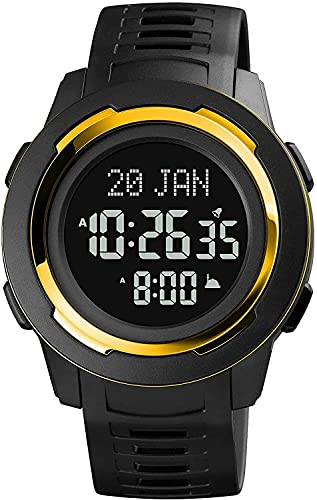 QHG Relojes Deportivos para Hombre brújula Deportivos Hombres Digitales Relojes de Pulsera dirección de la Ciudad de la Ciudad Reloj para el Reloj de Pulsera Digital Masculino (Color : BlackGold)