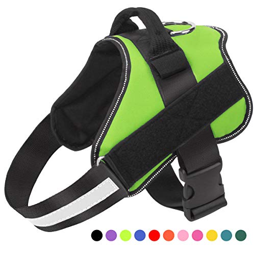 Dog Harness No Pull Reflective Adjustable Pet Vest with Handle for Outdoor Walking- No More Pulling, Tugging or Choking(Green,L)