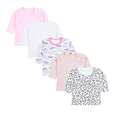 TupTam Camiseta de Bebé para Niña Manga Larga Pack de 5, Mix de Colores 4, 62
