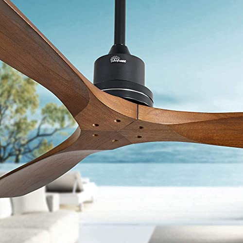 """Modern 52"""" Walnut Ceiling Fan, Solid wood 3-Blade Ceiling Fans, band Remote Control, timing function Luxury Fan for Bedroom Living Room (Mute)"""