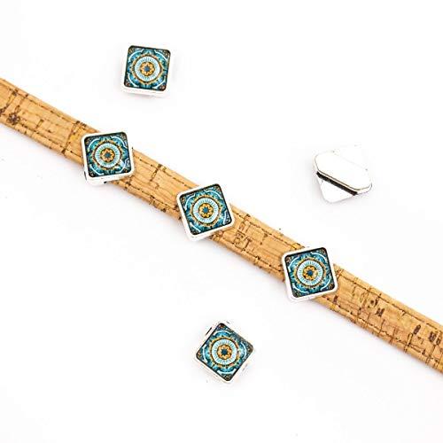 10 Stück für 10 mm flache Kordelgleiter mit quadratischen portugiesischen Fliesen für Armbänder (12 mm x 12 mm) D-1-10-216